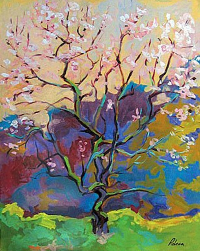 artist: Rebeca Muñoz Carrilero category; Painting - Landscapes name: Pink tree (2005)