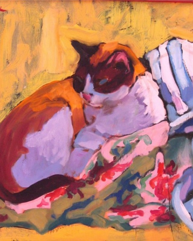 artist: Rebeca Muñoz Carrilero category; Painting - Animals name: Betty's on the settee (2003)