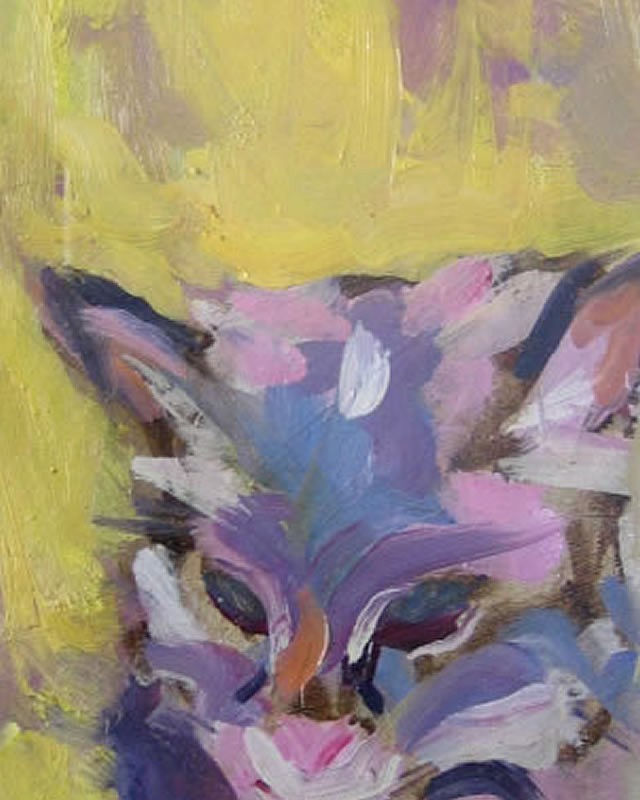 artist: Rebeca Muñoz Carrilero category; Painting - Animals name: Coco's on the settee (2003)