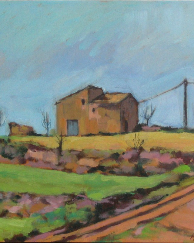 artist: Rebeca Muñoz Carrilero category; Painting - Landscapes name:  solivella's haystacks (2003)