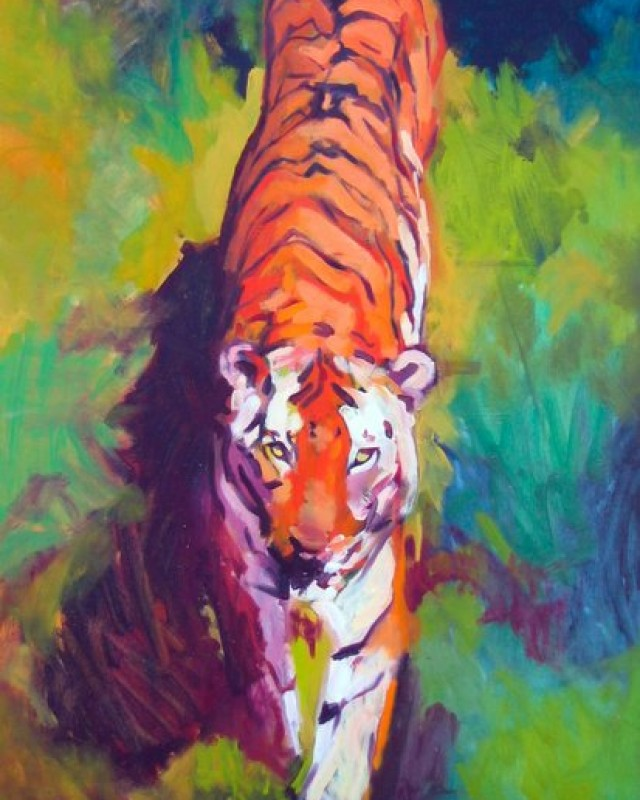 artista: Rebeca Muñoz Carrilero categoria; Pintura - Animals nom: tigre (2005)